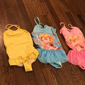 Girl swimsuits Ralph Lauren 3T-5T, goggles, cap